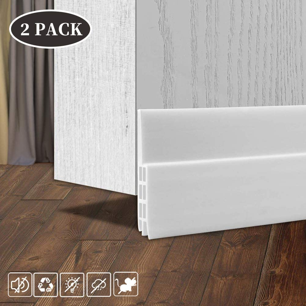 2PACK Door Draft Stopper, Strong Adhesive Under Door Draft Blocker for Dustproof, Soundproof and Small Animals-Proof (White)