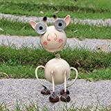 W-DIAN solar garden lights metal art outdoor Patio decorative Animal decor LED lawn Metal Decorative cow Statue