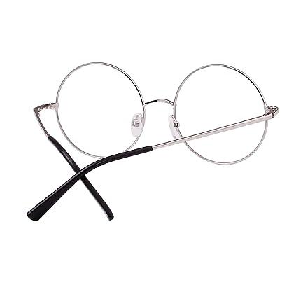 1ca7627fce Agstum Retro Round Prescription ready Metal Eyeglasses Frame Clear Lens  51mm (X-Large Size