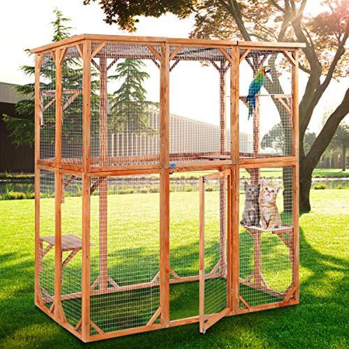 JAXPETY Cat Wooden House Small Animal Outdoor Pen Cage Dog Cat Play Enclosure (In Screened Patio Cost Of Building)