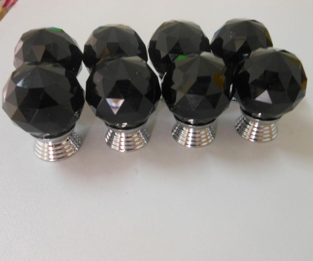Tangpan 30mm Diamond K9 Crystal Glass Door Handle Cabinet Knobs Color Black Pack of 10