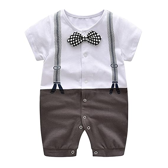 Ding-dong Baby Boy Girl Cotton Long Sleeve Striped Star Bowtie Romper