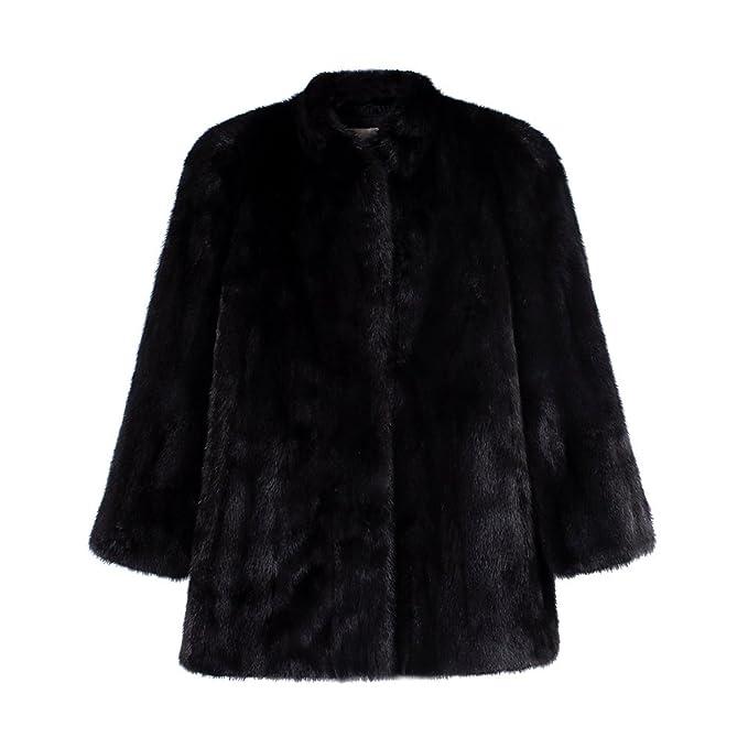 YuanDian Mujer Otoño Invierno Casual Color Sólido Manga Larga Abrigos De Pelo Cálido Suave Imitacion Piel Sintetica Chaquetas Outwear Negro 3XL: Amazon.es: ...