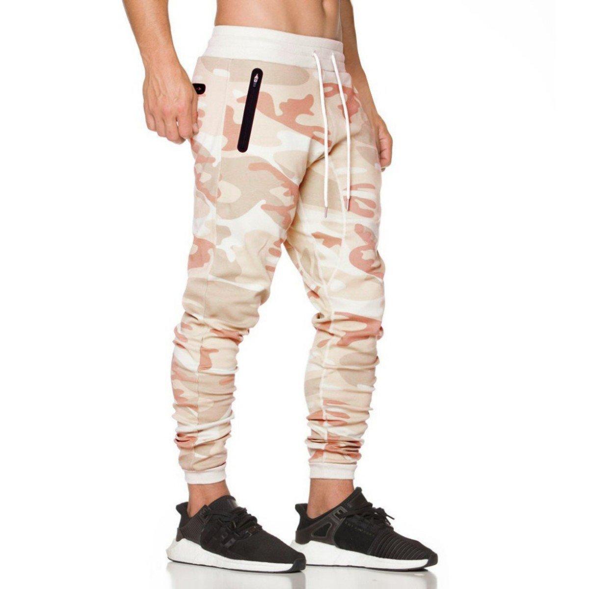Coconut Ropamo CR Mens Jogger Pants Gym Fitness Trousers Tracksuit Slim Fit Bottoms Training Sweatpants Zipper Pockets