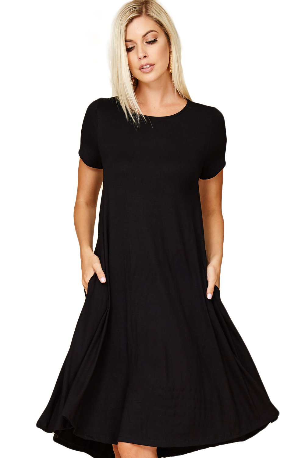 Annabelle Women's Comfy Short Sleeve Scoop Neck Swing Dresses with Pockets 3X-Large Black D5213X