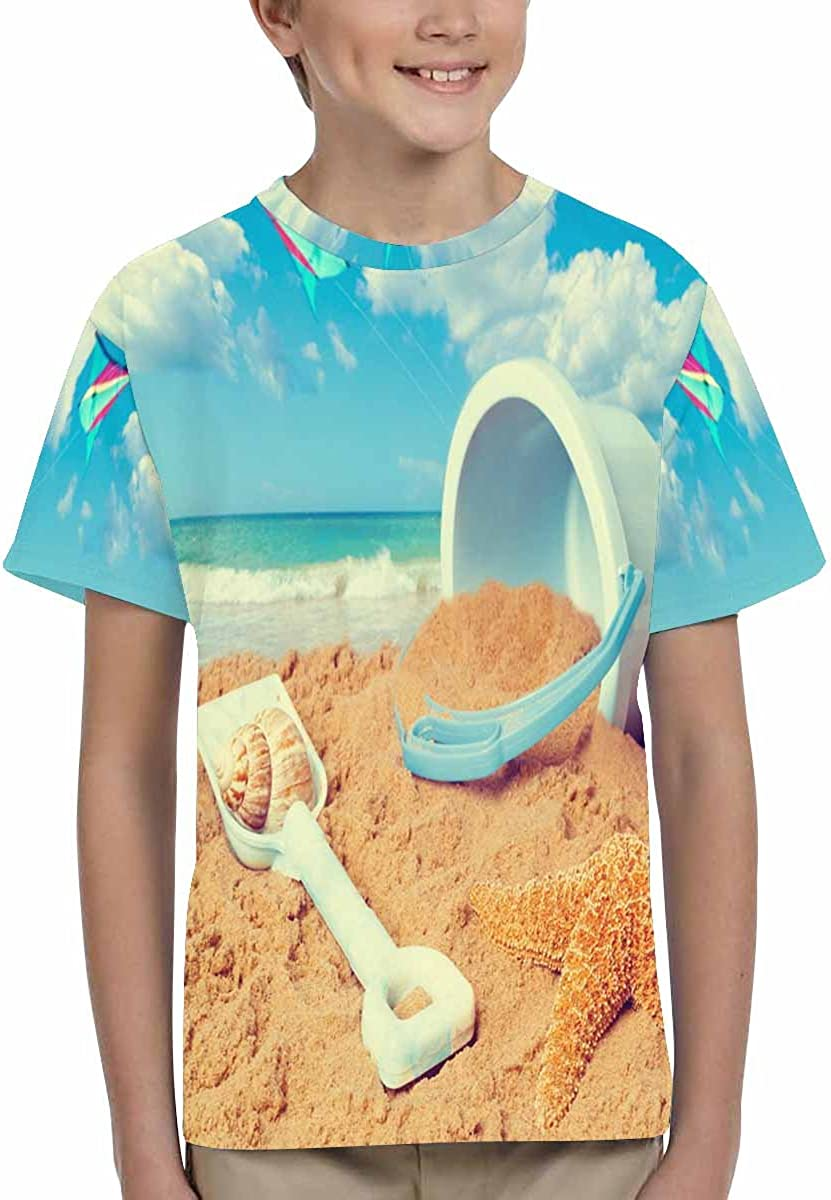 INTERESTPRINT Bucket and Spade Kite Flying Beach Youth T-Shirts XS-XL