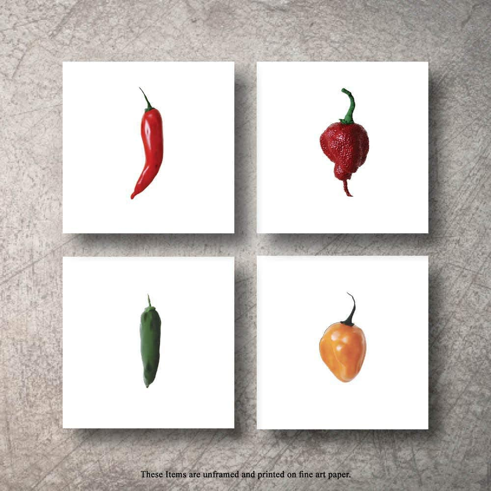 Botanical Prints 4pc Chili Peppers Wall Decor Kitchen Art Food Herb Pepper Set UNFRAMED Pictures Nature Floral Pepper Plant Flower Green Small Botanical Prints Wall Art Vintage Print Poster (5x7)
