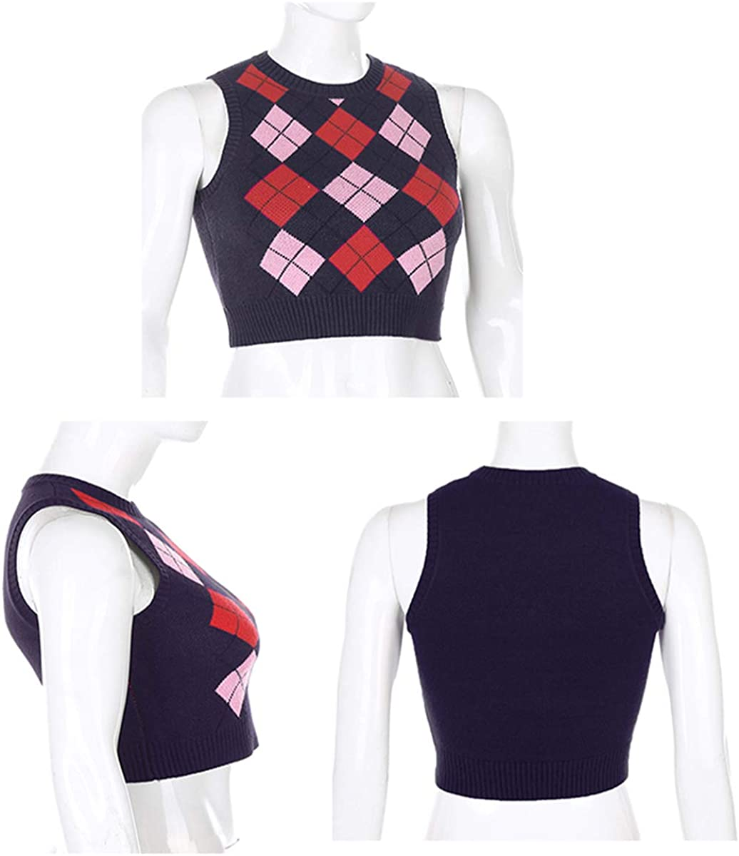 MISSACTIVER Women Argyle Plaid Knitted Crop Sweater Vest Preppy Style V Neck Tank Top Knitwear 90s