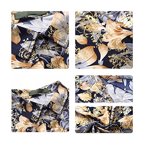 blu maniche Stampa Hawaiian assortiti da a Camicia Allthemen colori corte uomo hawaiane qxaB5P