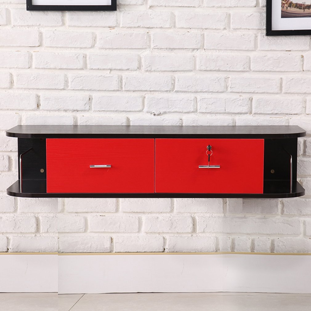 Belovedkai Modern TV Stand, Living Room Entertainment Center TV Media Stand, Wall Mounted Double Drawer Storage (red&black)