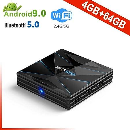 YPSMCYL HK1 Super Android 9.0 CAIXA De TV Inteligente Google Assistente RK3318 4K 3D Utral HD 4G 64G TV WiFi Play Store Aplicativos Gratuitos Rápido Set Top Box,4GB+64GB: Amazon.es: Hogar