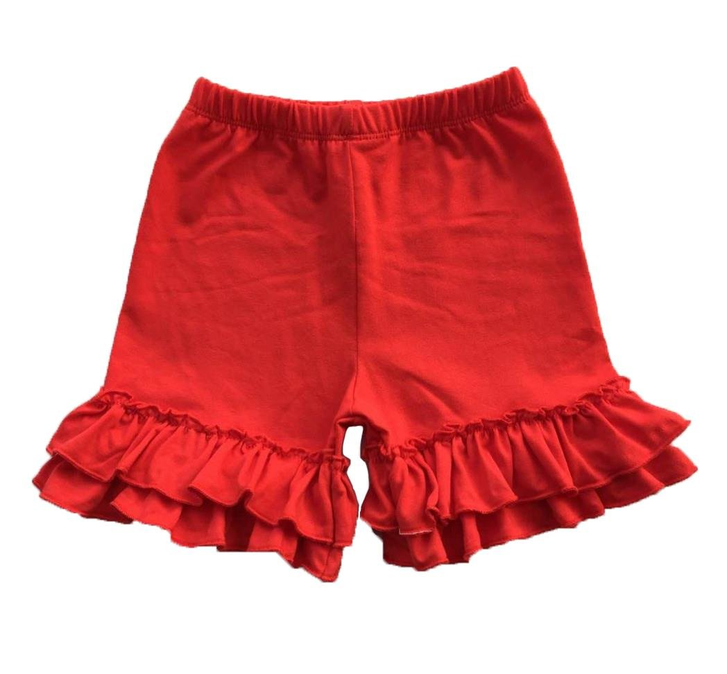 Coralup Baby & Little Girls Ruffles Cotton Shorts P6092_Red(L,3-4Y)