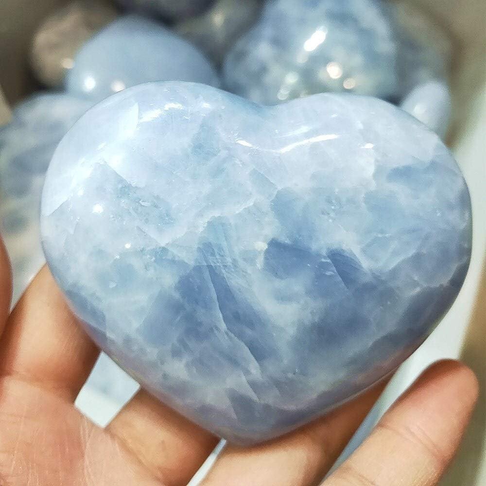 ACEACE Corazón de Cristal de Cuarzo Natural Hecho a Mano Celestina corazón Chakra Piedras Preciosas Piedra de Equilibrio Collector Cristales de Reiki (Size : 150g)