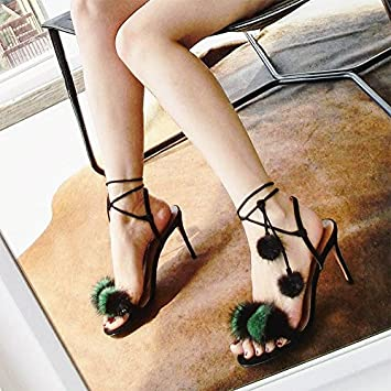 SHOESHAOGE Summer Roman Shoes Red High Heel Fine Sable Strap Sandals Round Head Fur Ball One Word With Shoes Suede...