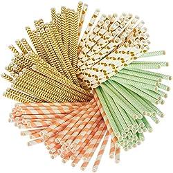 160 Pack Paper Straws - Biodegradable Straws Mint Green, Metallic Gold, Polka Dots, Coral Stripes Chevron Design Bulk Drinking Straws