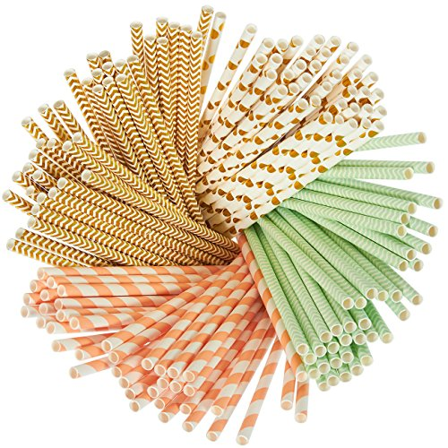Paper Straws - 160-Pack Mint Green, Peach, and Gold Colored Fun Drinking Straws with Coral Stripes, Polka Dot, and Chevron Designs