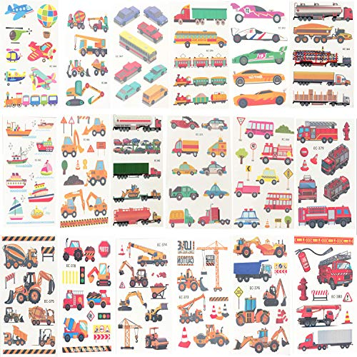Oexper 18 Sheets of Construction Vehicle Temporary Tattoos Cars Fire Trucks Buses Transportation Tattoo Stickers for Boys Girls Kids Adults Birthday Party Car Themed Party Supplies Party Favors -