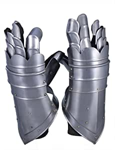 RedSkyTrader Mens Metal and Leather Gauntlet Gloves One Size Fits Most Metallic