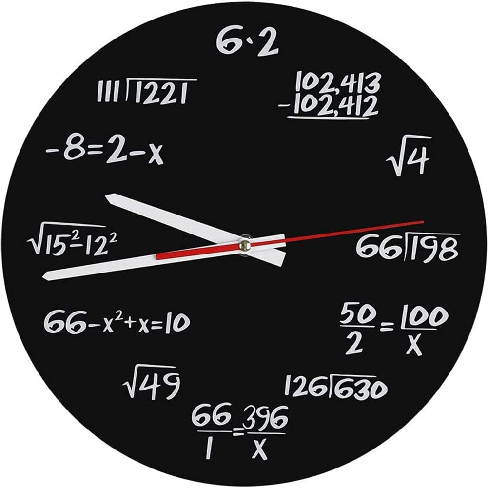 Sq Acrylic Wall Clock Creative Math Wall Clock Unique Design Funny Mathematical Formula pm Modern for Classroom House Decoration of Office,Black