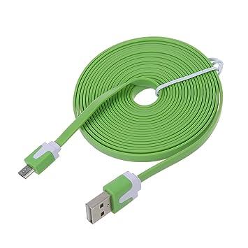 REFURBISHHOUSE Cordon de Cable de Datos de sincronizacion para Samsung Galaxy S4 HTC FM 3metros Plano Mini USB Cargador