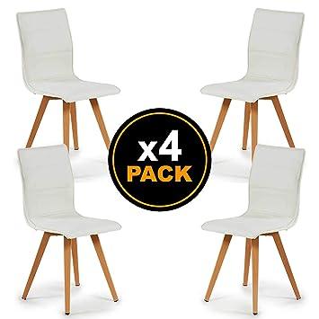 TENDENCIA UNICA Pack 4 sillas de Comedor con tapizado de ...
