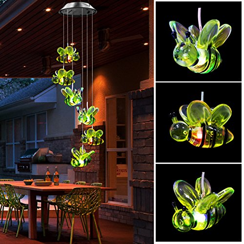 Ylyycc Color Changing LED Solar Wind Chimes path LED Changing Light Color waterproof six honey bee wind chimes for dinner party/garden/corridor decoration