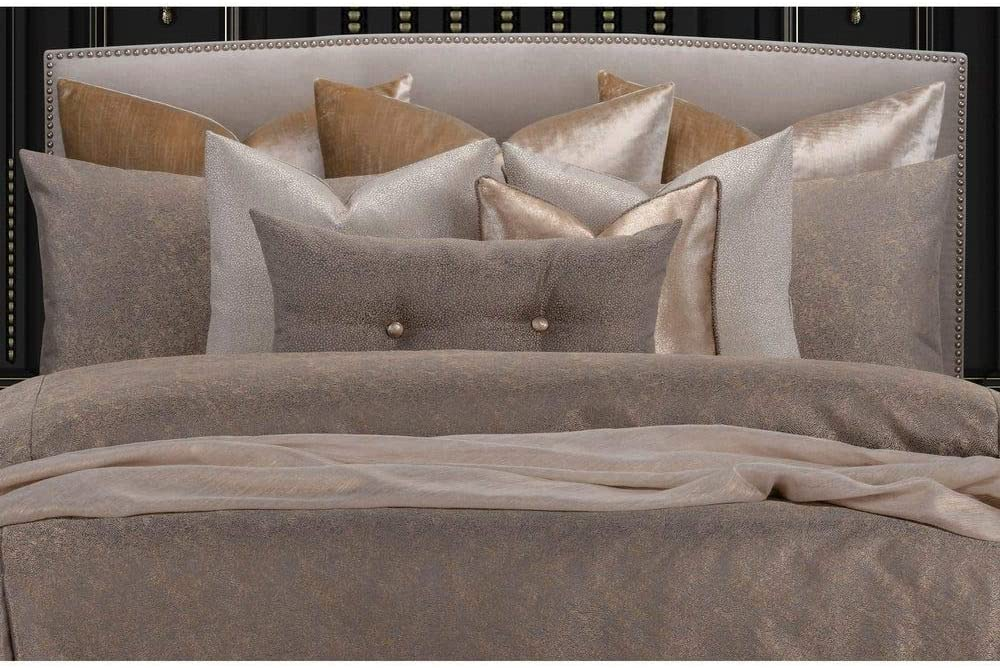 TRP 6 Piece Designer Comforter Set Cal King, Modernist Deco Design Brown Gold Modern Contemporary Opulent Textured Elegant Decorative Warm Cozy Comfy Microfiber Down Alternative Bedding