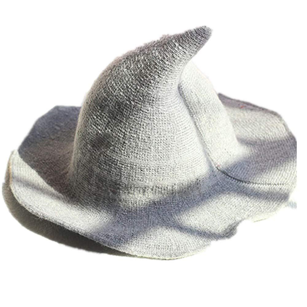 Kangkang Along The Sheep Wool Cap Knitting Fisherman Hat Female Fashion Witch Pointed Basin Bucket Hat Accessories (Light Grey)