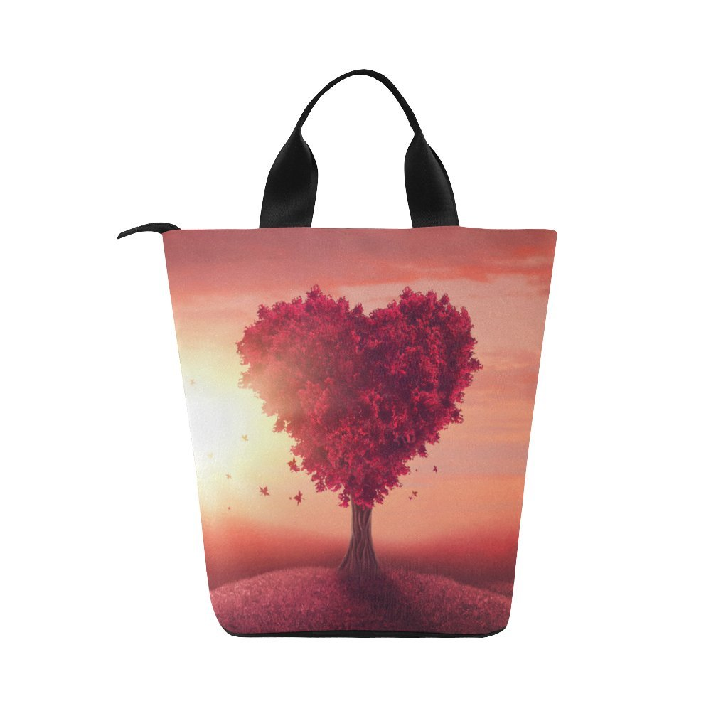 43afbcdf6228 InterestPrint Red Hearts Tree Nylon Cylinder Lunch Bag Tote Shopping  Handbag, Valentine's Day Love Reusable Large Lunchbox Grocery Bag