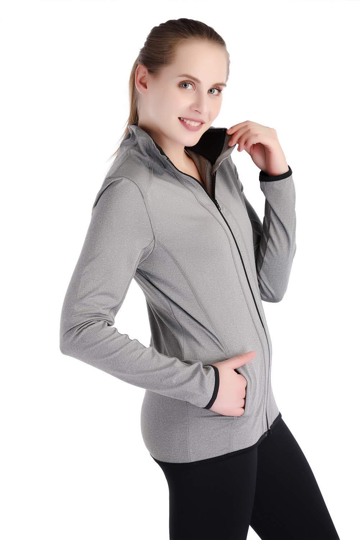 Dolcevida Women's Full Zip Long Sleeves Running Activewear Yoga Track Jackets (Grey, M) by Dolcevida (Image #3)