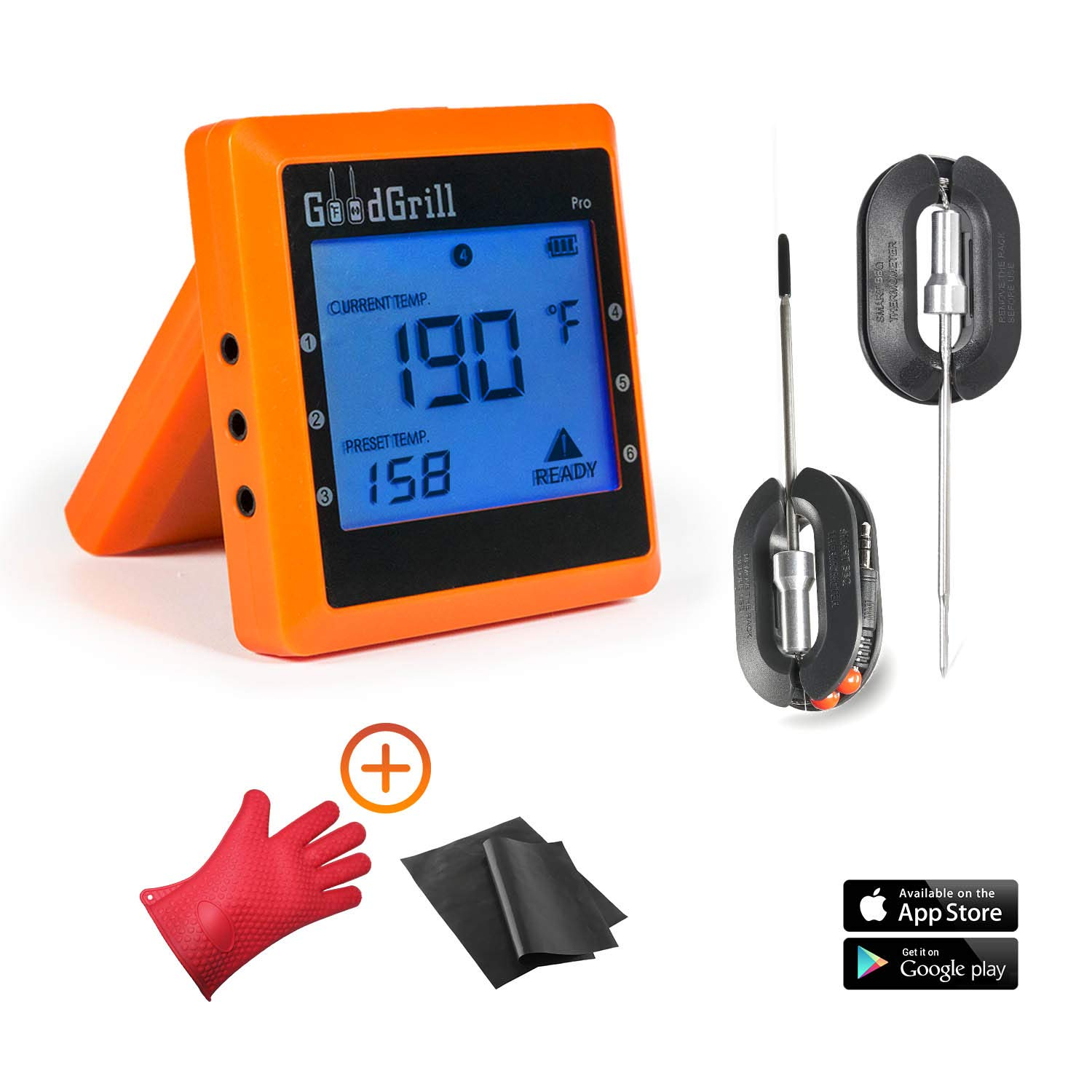 GoodGrill Wireless Meat Thermometer System - Bluetooth Meat Thermometers with 160' Range - Temp Monitoring Smartphone App, 2 Accurate Stainless Steel Probes for Grill & Smoker with 2 Special Bonuses