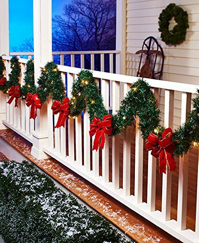 """The Lakeside Collection 120"""" Lighted Porch Garland with Holiday Pine Wreath Style, Red Bows"""