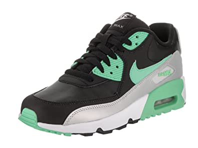 bd191680354 NIKE Kids Air Max 90 LTR (GS) Black Green Glow MTLC Platinum Running