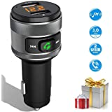 Bluetooth FM Transmitter Car Charger, Acenx Wireless FM Radio Transmitter, Bluetooth Radio Adapter Car Kit with Hands-Free Calling and Dual USB Ports Quick Charger 5V/3.0A
