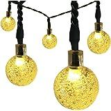 Satu Brown 30er LED Solar Lichterkette Garten Globe Außen Licht Warmweiß 6,5M, Dekorative Beleuchtung für Terrasse, Party, Hochzeit, Camping, Weihnachten, Hof, Outdoor, Fest Deko usw.