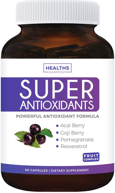 Super Antioxidant Supplement - Powerful Super Food Antioxidants Blend - Acai Berry, Goji Berry, Pomegranate & Trans Resveratrol - Natural Herbal, Fruit Formula - Skin Care - 60 Capsules