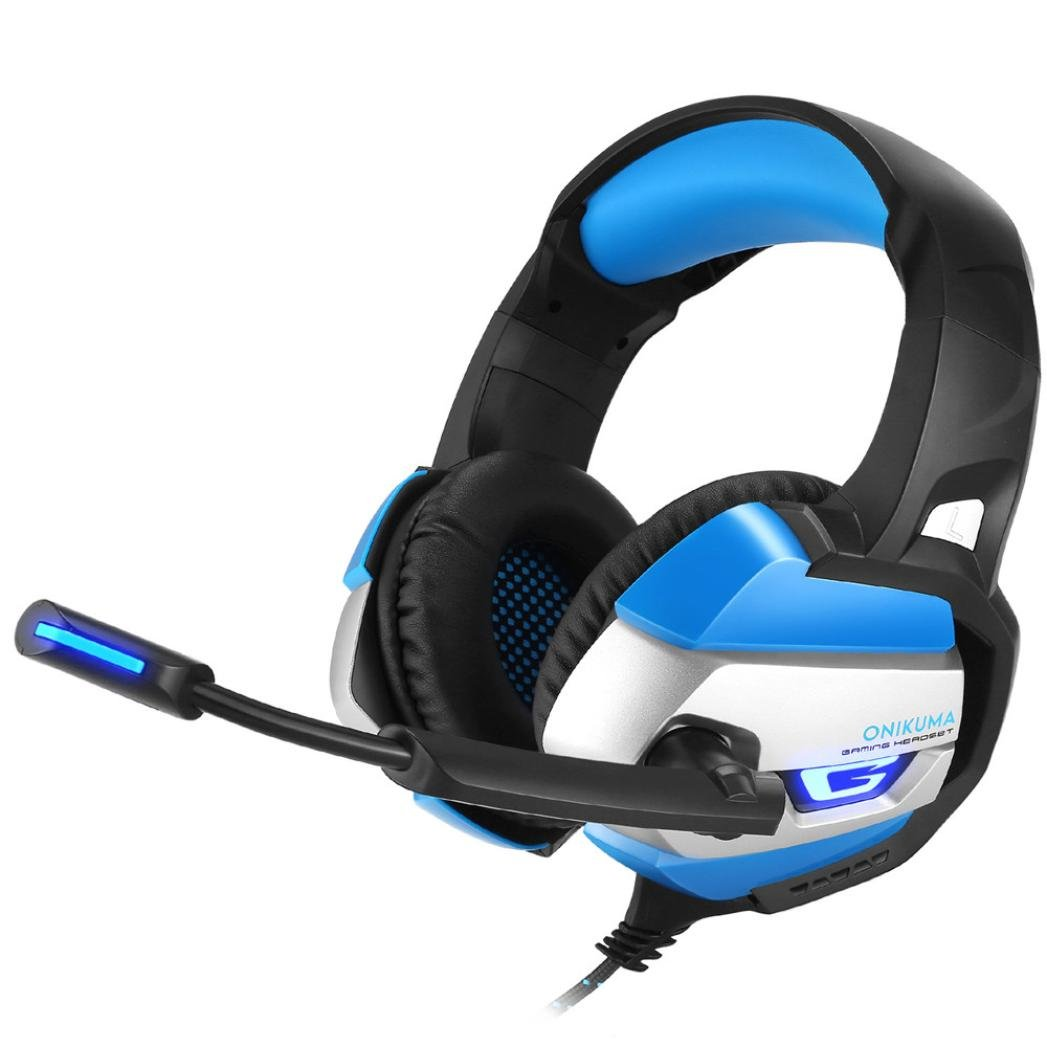 YRD Tech Best Gaming Headset Gamer Casque Deep Bass Gaming Headphones for Computer PC PS4 Laptop Notebook with Microphone LED (Blue)