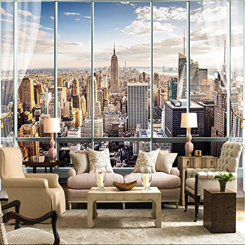 300cmX250cm Wallpaper 3D Stereo Large Murals Modern False windows living sofa bed bedroom New York flash silver cloth wallpaper by ZLJTYN