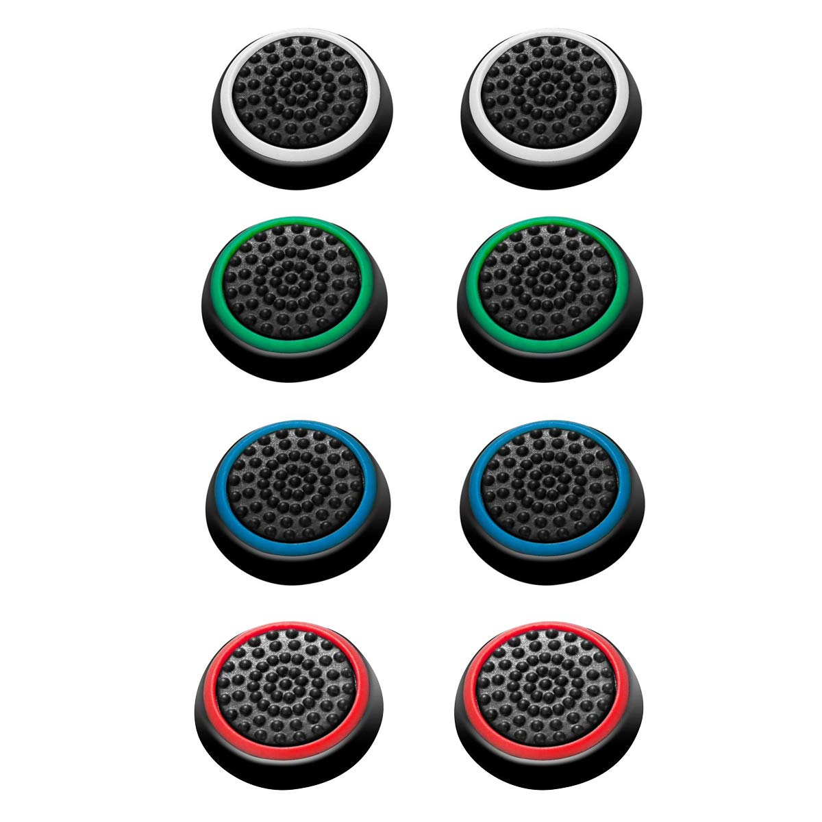 carocheri 4 Pairs 8 Pcs Silicone Cap Joystick Thumb Grip Protect Cover for Ps3 Ps4 Xbox 360 Xbox One Wii U Game…