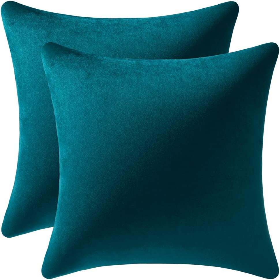 DEZENE Throw Pillow Cases 20x20 Teal: 2 Pack Cozy Soft Velvet Square Decorative Pillow Covers for Farmhouse Home Decor