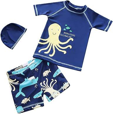 Baby Infant Toddler Boys Kids Two Piece Short Sleeve Cartoon Print UV Sun Protection Swimsuit Rash Guard Swimwear