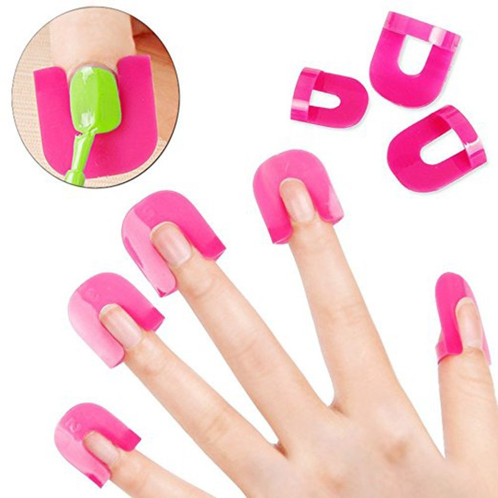 Ecloud Shop 26pcs Manicure Spill-proof Clips Nail Art Soak Off Cap Gel Polish Remover Wrap Spill Protector with French Stickers Ecloud ShopCA