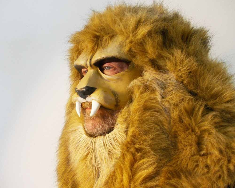 Lion Mask, animal head. Costume masquerade mask for adults, women and men. Lion headdress. Handmade beast party animal. Adjustable size.