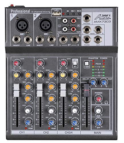 Audio2000'S AMX7303 Professional Four-Channel Audio Mixer with USB and