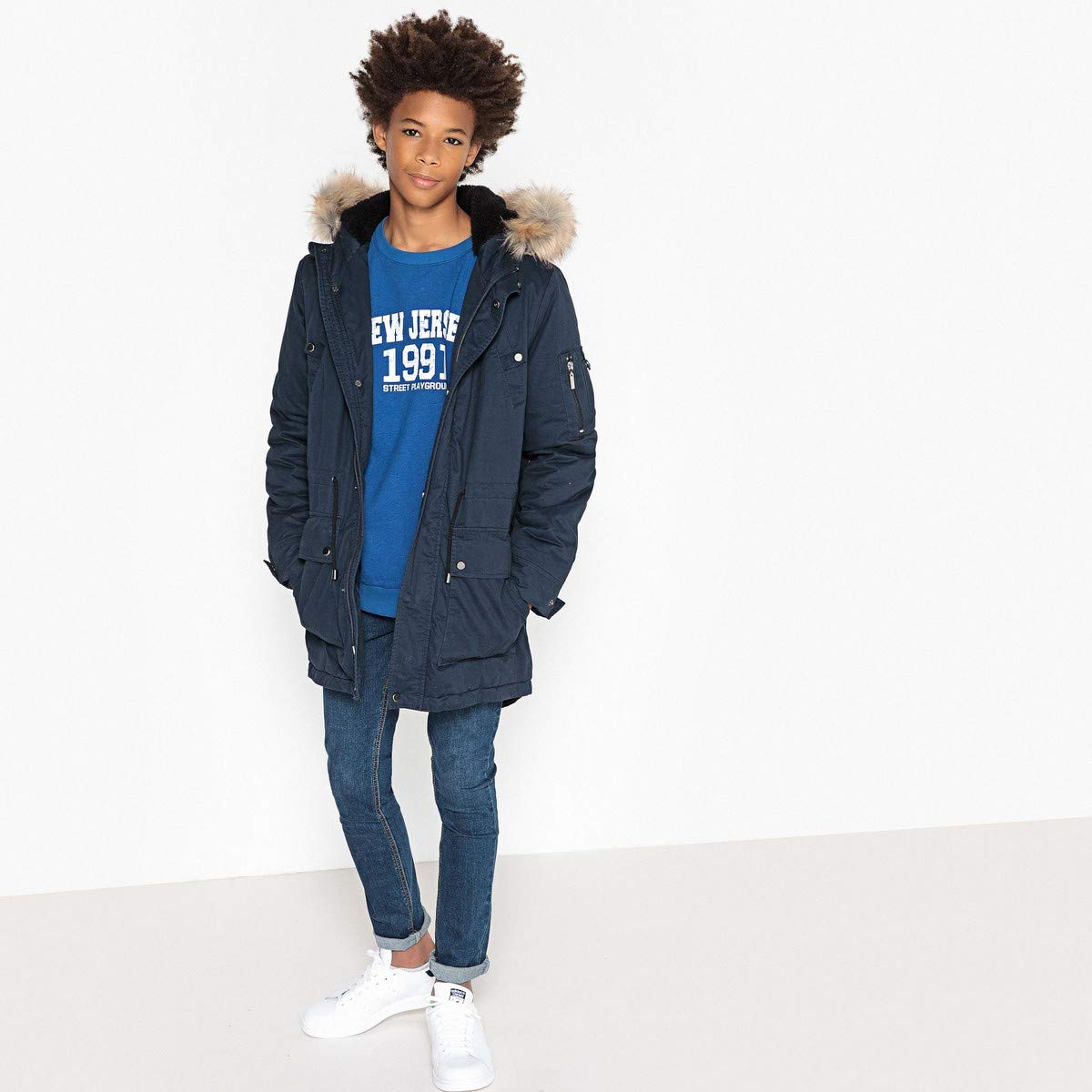 La Redoute Collections Big Boys Warm Parka, 10-16 Years Blue Size 16 Years - 68 in. by La Redoute (Image #2)