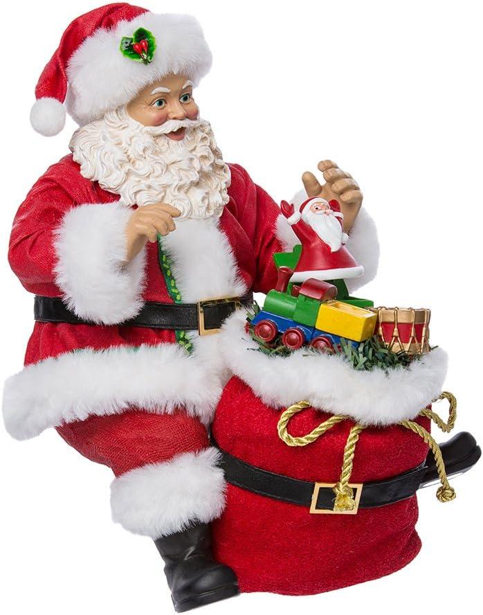 Kurt Adler C7467 8 Fabriche Shelf Sitter Santa with Sack of Toys