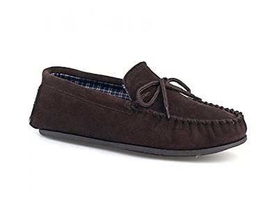 dff1e949cac Mens Dark Brown Suede Moccasin Slipper with Hardwearing sole - Bruce - Dk. Brown - size UK Mens Size 13  Amazon.co.uk  Shoes   Bags