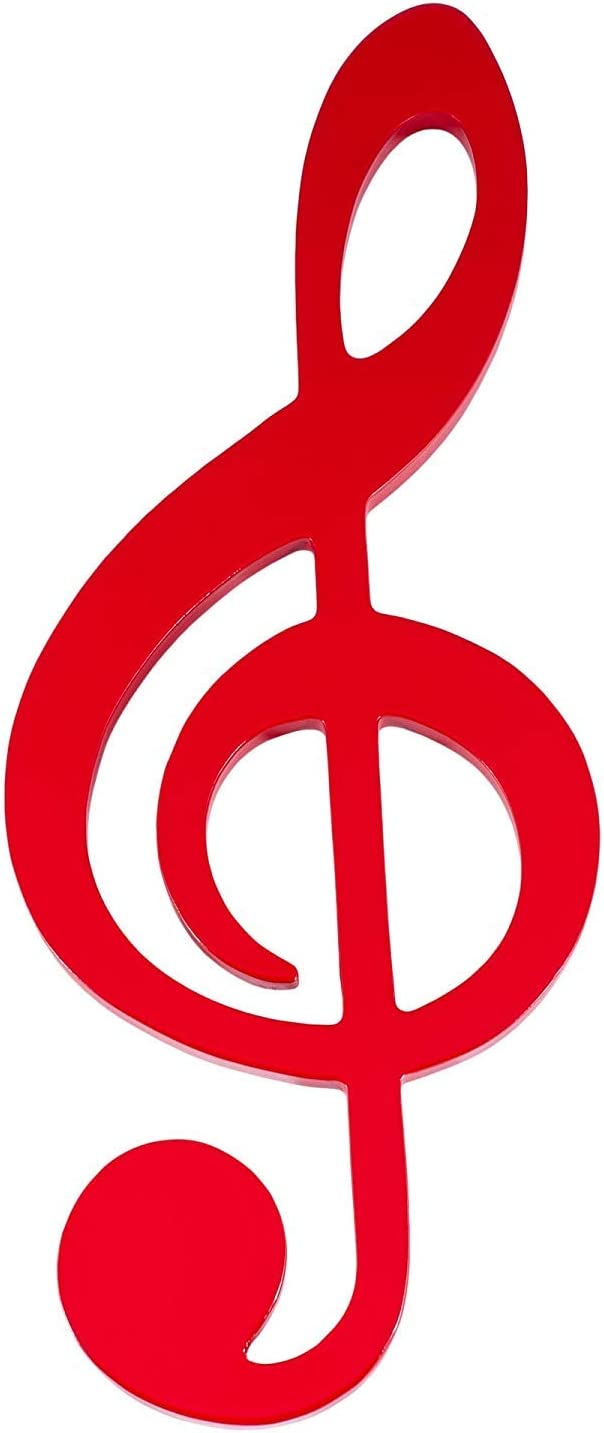 Broadway Gifts Music Note Glossy Black 9 Inch Wood Hanging Wall Decoration (Treble Clef Red)