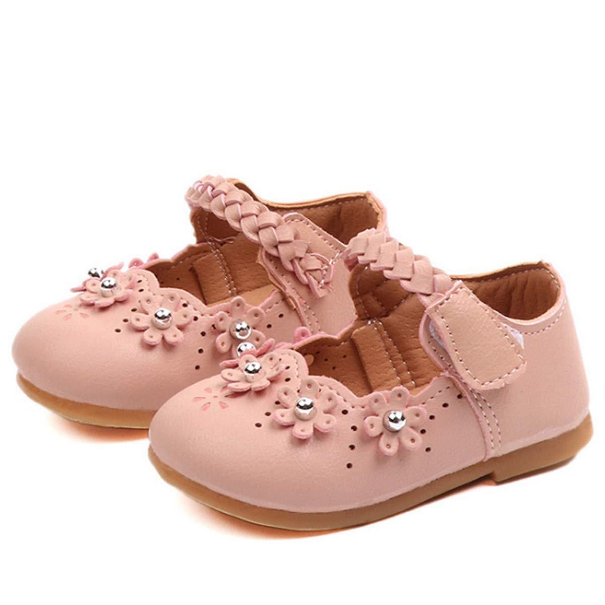 Full Win Toddler Girls Flower Leather Mary Jane Dress Flat