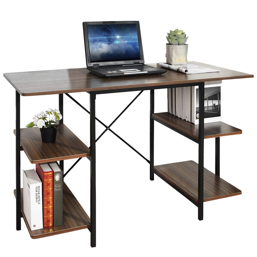 GreenForest Computer Desk with Shelves 47 Inch Large Desktop Home Office Desk Workstation, Walnut